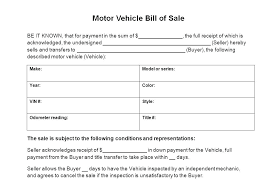 Simple Bill Of Sale For Car Template Printable Auto Bill Of Sales Template Sale Texas Motor
