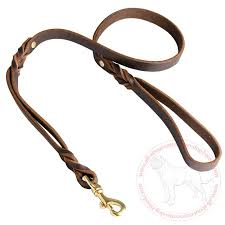 leather braided leash for cane corso