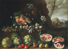 giovanni stanchi watermelons peaches pears and other fruit in a landscape