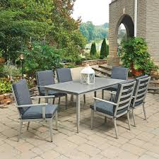 south beach grey 7 piece rectangular extruded aluminum outdoor dining set with