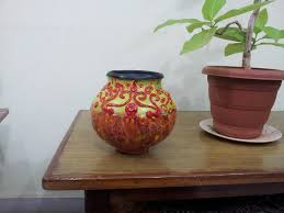 pot painting using shilpkar and enamel paints
