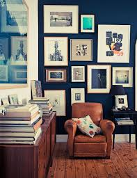 home office dark blue gallery wall. Decorations:Deluxe Nice Wall Gallery Art Wth Brown Painted For Home Office Ideas With Dark Blue