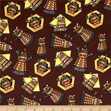 Doctor Who Daleks Tossed Brown Background Cotton Quilting Fabric 1 ... & Doctor Who Daleks Tossed Brown Background Cotton Quilting Fabric ... Adamdwight.com