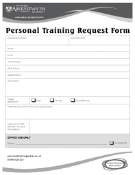 Fillable Online Aber Ac Personal Training Request Form - Aberystwyth ...