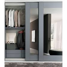 mirror sliding wardrobe of player collection with white glossy lacquered glass door panel and white open