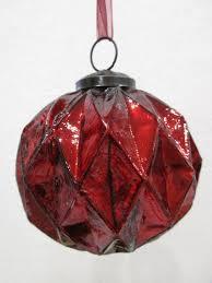 isaac mizrahi red mercury glass kugel style ornaments set of 4