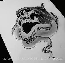 коллекция эскизы тату змея с черепом пользователя портал