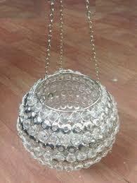 diamond crystal round shape candle holder hanging best