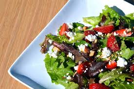 mixed green salad with strawberries. Simple Strawberries Mixed Greens With Feta Strawberries U0026 Almonds  That Square Plate On Green Salad With Strawberries L