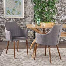patterned dining room chairs zeila mid century modern fabric dining chair set of 2 by