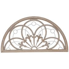 fleur de lis arched window wood wall