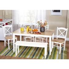 white dining bench. Simple Living Tiffany 6-piece Dining Set With Bench White
