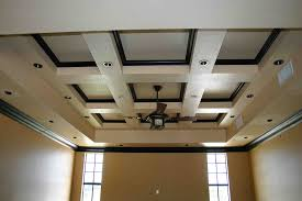 wooden coffered ceiling cost with cool ceiling fan and cream wall for home  decoration ideas