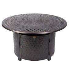 verona 42 in x 24 in round aluminum lpg fire pit table in antique