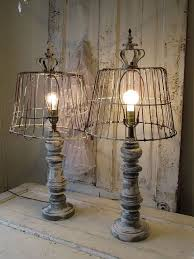 edison table lamp vintage home lighting. wooden baluster table lamp rustic farmhouse distressed wood base w recycled rusty basket lampshade lighting home decor anita spero design edison vintage