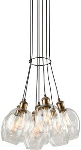 artcraft ac10737vb clearwater contemporary vintage brass multi pendant lighting fixture loading zoom