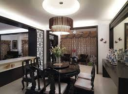 chinese traditional dining room design with black chandelier