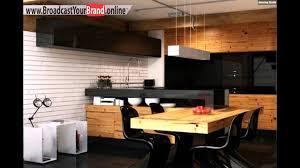 Wohnideen Küche Modern Holz Esstisch Schwarze Glas Küchenrückwand