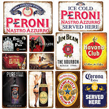 Rum With The Pack <b>Beer</b> Plaque Peroni <b>Vintage Metal Tin</b> Signs ...