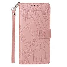embossing fireworks elephant leather wallet case for lg stylo 4 rose gold leather case guuds