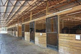 steel truss built horse barn right