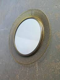 round metal mirror with leather strap round metal mirror clips metal round mirror uk round mirror with brass net frame 1950s