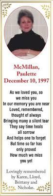 Paulette MCMILLAN   Obituary   Cornwall Standard Freeholder