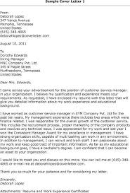 Example Of Executive Cover Letters Cover Letter Examples Customer Service Manager Interesting