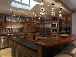 kitchen kitchen square track lighting for vaulted ceiling with skylight and 3 pendant lamps over island