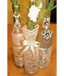 SET(3)- Decorated Wine Bottle Centerpiece Vintage Ivory, Tan & Gold.
