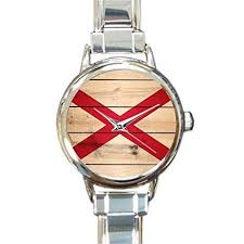 birthday day novelty gifts presents alabama state flag wood women s italian charm watch