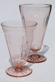 vintage pink depression glass footed tumblers mismatched pattern glass flower vases