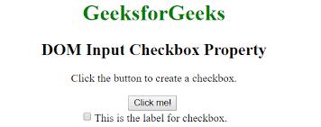 HTML   DOM Input Checkbox Property - GeeksforGeeks