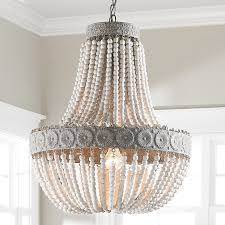 Photo 8 of 9 Beautiful Beaded Chandeliers For Sale #8 Aged Wood Beaded  Chandelier