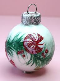 Hand Decorated Christmas Balls Peppermints Ornament Hand Painted Glass Ball Ornament Baby's 90