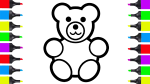 How To Draw Teddy Bear Easy Coloring Pages For Kids Learn Colors