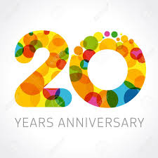 20 Years Old Multicolored Logotype Anniversary 20th Greetings