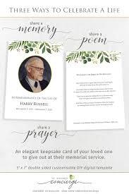 Memo Card Template Printable Funeral Memory Photo Keepsake Card Easy To Edit Natural