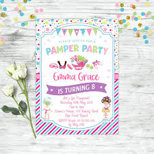 Details About Pamper Spa Party Invitations Birthday Invite Party Supplies Girls Beauty Facial