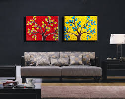 Modern Wall Paintings Living Room Aliexpresscom Buy 2 Panel Canvas Prints Red Yellow Tree