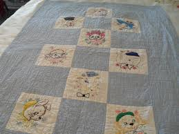 41 best Vintage baby quilts images on Pinterest | Appliques, Baby ... & Vintage baby quilt, hand embroidery, applique and quilting, 1940 -50's era Adamdwight.com
