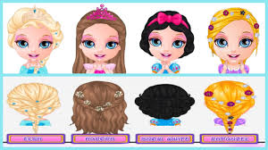 baby barbie disney princess hair salon elsa snow white rapunzel and aurora hairstyle game for s you