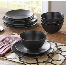black dinnerware sets. Interesting Black Better Homes U0026 Gardens Matte Swirl 12Piece Dinnerware Set Black   Walmartcom With Sets