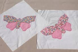 butterfly applique quilt blocks, hand stitched embroidery w ... & vintage butterfly applique quilt blocks, hand stitched embroidery w/ pretty  cotton prints Adamdwight.com