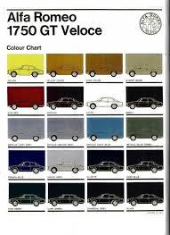 Color Chart Alfa Romeo 1750 Gt Veloce Alfa Romeo 1750