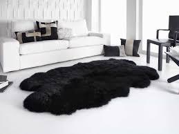black sheepskin rug. Black And White Minimalist Living Room With Quarto Ivory Longwool Sheepskin Rug (Photo 14