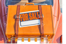 Automobile For Sale Sign For Sale Sign Stick On Brown Traveling Leather Bag Carry Behind