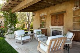 mediterranean outdoor furniture. Covered Patio With Wood Beam And Outdoor Fireplace Also Furniture Plus Stucco Colors Grass Planter For Mediterranean U