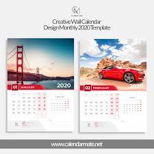 Calendar Design Morizt Creative Wall Calendar Design Monthly Template 2020 Full