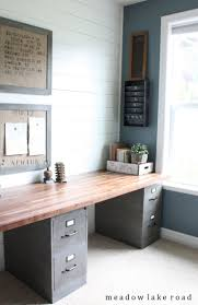 double office desk. clean and functional office with an industrial rustic look labor junction home improvement double desk